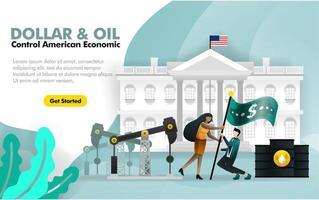 le dollar et le pétrole contrôlent l'économie américaine. avec fond de maison blanche et deux personnes battant le drapeau dollar entouré de raffinerie de pétrole. peut utiliser pour, page de destination, modèle, web, application mobile, affiche, bannière vecteur