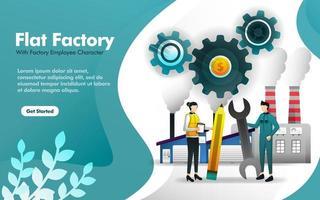 ouvrier d'usine debout devant le bâtiment de l'usine dans un style plat. peut utiliser pour, page de destination, web, application mobile, affiche, illustration vectorielle, promotion en ligne, marketing internet, finance, commerce vecteur