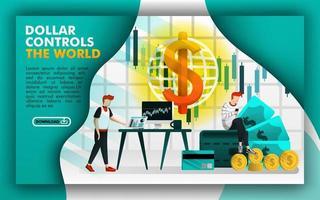 le dollar contrôle le monde, les gens choisissent d'investir sur Internet avec des dollars. peut utiliser pour, page de destination, modèle, interface utilisateur, web, bannière, illustration vectorielle, promotion, marketing, finance, commerce vecteur