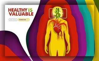 la santé est précieuse. une métaphore avec un cœur qui bat et un symbole dollar pour montrer la douleur coûte cher. peut utiliser pour la page de destination, le modèle, l'interface utilisateur, le Web, l'application mobile, l'affiche, la bannière, la promotion en ligne vecteur