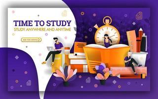 illustration vectorielle du temps d'étude. l'actualité de l'éducation oblige les étudiants à profiter du temps d'étude. l'apprentissage des élèves avec la technologie et les livres pour améliorer les compétences d'apprentissage et les outils d'apprentissage vecteur