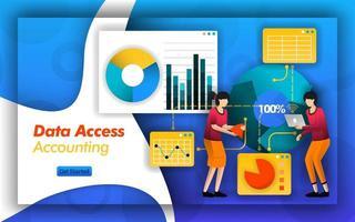 Le partenariat comptable facilite l'analyse de la comptabilité d'accès aux données pour sélectionner les impôts, les services et les rapports dans la comptabilité financière ou les normes des entreprises pour faciliter l'accès aux données. style de vecteur plat