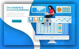 les cabinets comptables fournissent des services de logiciels d'analyse de données et de comptabilité, de comptabilité virtuelle et de comptable quickbooks. logiciel de service professionnel de comptabilité à domicile et service de comparaison de comptabilité vecteur