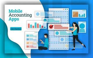 les sociétés comptables fournissent des services d'applications de comptabilité mobiles pour tous les services de comptabilité de paie. ces applications aident également à l'enseignement de la comptabilité, aux cours gratuits et à la déclaration de revenus certifiée. style de vecteur plat