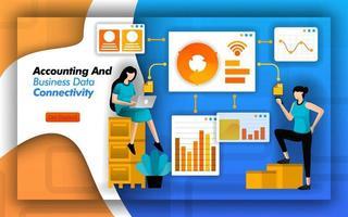 les logiciels financiers facilitent l'accès à la comptabilité et à la connectivité des données d'entreprise. pour minimiser l'analyse de la fraude comptable et simplifier la comptabilité de base, les données, les finances et les affaires. style de vecteur plat