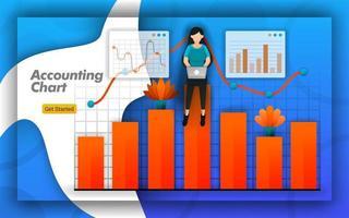 conception de tableaux comptables avec graphiques à barres et graphiques linéaires pour toutes les activités comptables, formation en comptabilité, certifications. simplement la comptabilité pour les présentations de brochures et de conception. style de vecteur plat