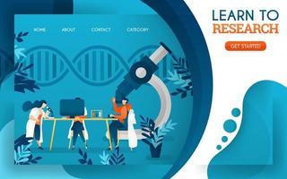 de jeunes médecins étudient la recherche à l'aide d'ordinateurs et de microscopes. illustration vectorielle de dessin animé plat vecteur