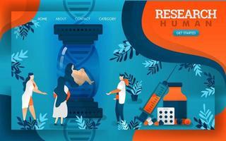 les médecins examinent les humains et leur capacité à survivre grâce aux médicaments. illustration vectorielle de dessin animé plat vecteur