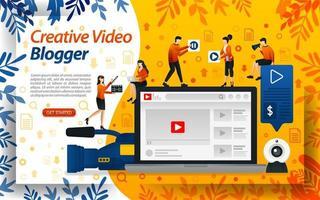 vidéo de blogueur créative. studio vlog pour l'édition. influenceur en ligne, vlogger et selebgram, illustration vectorielle de concept. peut utiliser pour la page de destination, le modèle, l'interface utilisateur, le Web, l'application mobile, l'affiche, la bannière, le dépliant vecteur