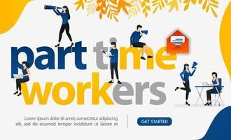 les gens travaillent à la pige en écrivant des travailleurs à temps partiel, illustration vectorielle de concept. peut utiliser pour la page de destination, le modèle, l'interface utilisateur Web, l'application mobile, l'affiche, la bannière, le dépliant, l'arrière-plan, le site Web, la publicité vecteur