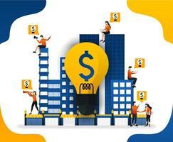 idée de construire une ville intelligente. création d'un système financier dans la ville, illustration vectorielle de concept. peut utiliser pour la page de destination, le modèle, l'interface utilisateur, le web, l'application mobile, l'affiche, la bannière, le dépliant, l'arrière-plan, le site Web vecteur