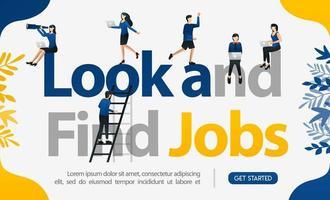 promotion pour trouver des travailleurs avec les mots chercher et trouver des emplois, illustration vectorielle de concept. peut utiliser pour la page de destination, le modèle, l'interface utilisateur, le web, le mobile, l'affiche, la bannière, le dépliant, l'arrière-plan, le site Web, la publicité vecteur