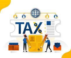 allégement fiscal et pardon. remplir les impôts en ligne. remise en amnistie fiscale, illustration vectorielle de concept. peut utiliser pour la page de destination, le modèle, l'interface utilisateur, le web, l'application mobile, l'affiche, la bannière, le dépliant, l'arrière-plan, le site Web