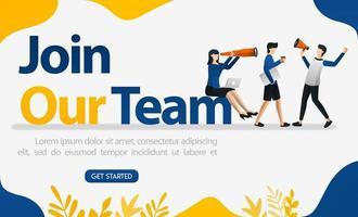 page de destination pour les entretiens d'embauche avec les mots rejoignez notre équipe, illustration vectorielle de concept. peut utiliser pour la page, le modèle, l'interface utilisateur, le web, l'application mobile, l'affiche, la bannière, le dépliant, l'arrière-plan, le site Web, la publicité vecteur