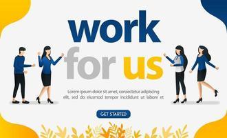 publicité en ligne pour les sites Web de recherche d'emploi avec des mots de travail pour nous, illustration vectorielle de concept. peut utiliser pour la page de destination, le modèle, l'interface utilisateur, le web, l'application mobile, l'affiche, la bannière, le dépliant, l'arrière-plan, la publicité vecteur