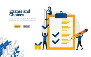 les examens et les choix de caractère plat pour l'apprentissage et le concept d'illustration vectorielle de consultants en sondage peuvent être utilisés pour, page de destination, modèle, ui ux, web, application mobile, affiche, bannière, site Web vecteur