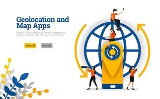 Les applications de géolocalisation et de cartes pour les voyages, les vacances et les voyages peuvent être utilisées pour le concept d'illustration vectorielle, page de destination, modèle, ui ux, web, application mobile, affiche, bannière, site Web vecteur