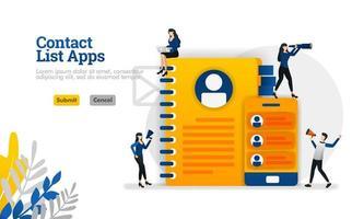 Les applications de liste de contacts pour mobile et les rappels équipés de livres et de smartphones peuvent être utilisés pour le concept d'illustration vectorielle, page de destination, modèle, ui ux, web, application mobile, affiche, bannière, site Web