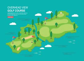 Vue aérienne du parcours de golf Illustration vecteur