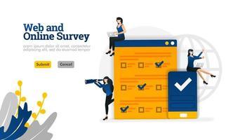 enquête Web et en ligne pour le marketing, la publicité et les consultants, le concept d'illustration vectorielle peut être utilisé pour, page de destination, modèle, ui ux, web, application mobile, affiche, bannière, site Web vecteur