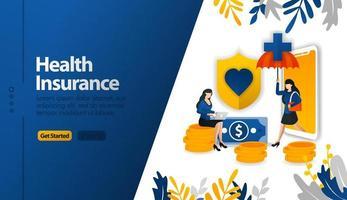 Les applications mobiles d'assurance maladie avec parapluies de protection et boucliers vector illustration concept peuvent être utilisées pour, page de destination, modèle, ui ux, web, application mobile, affiche, bannière, site Web