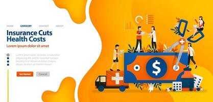 l'assurance réduit les coûts de santé. l'argent coupé avec des ciseaux géants. le concept d'illustration vectorielle peut être utilisé pour la page de destination, le modèle, l'interface utilisateur, le web, l'application mobile, l'affiche, la bannière, le site Web vecteur