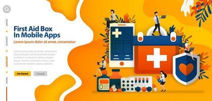 boîte de premiers soins dans l'application mobile, pour protéger la santé et le confort du patient. le concept d'illustration vectorielle peut être utilisé pour la page de destination, le modèle, l'interface utilisateur, le web, l'application mobile, l'affiche, la bannière, le site Web