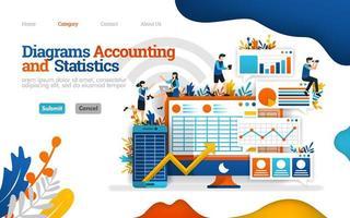 diagramme comptable et statistique. augmenter les performances commerciales grâce à une bonne comptabilité. concept d'illustration vectorielle plane, peut utiliser pour, page de destination, modèle, interface utilisateur, web, page d'accueil, affiche, bannière, flyer