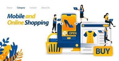 acheter des besoins et des modes de vie uniquement avec les achats mobiles et en ligne ou le commerce électronique. illustration vectorielle, style d'icône plate adapté à la page de destination web, bannière, flyer, autocollant, papier peint, carte, arrière-plan, ui