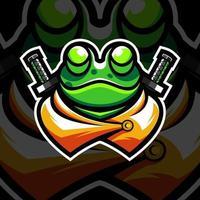 conception de mascotte grenouille ninja sur fond noir vecteur