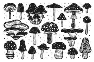 grand ensemble de champignons forestiers. illustration vectorielle d'encre. impression linogravure.