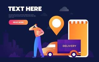 application de livraison de suivi de fret en ligne vecteur