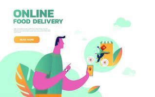 service de livraison de nourriture. application mobile. jeune homme courrier avec un grand sac à dos sur une moto. illustration vectorielle plat modifiable, clipart. vecteur