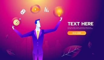 concept de compétences multiples. homme d'affaires avec des icônes et des compétences commerciales. illustration vectorielle de concept entreprise vecteur