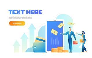 page de destination du concept de paiement par carte en ligne. bannière de paiements faciles avec modèle de site Web de personnages plats personnes. illustration vectorielle