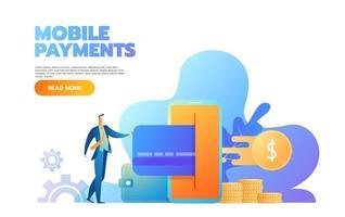 page de destination du concept de paiement par carte en ligne. bannière de paiements faciles avec modèle de site Web de personnages plats personnes. illustration vectorielle vecteur