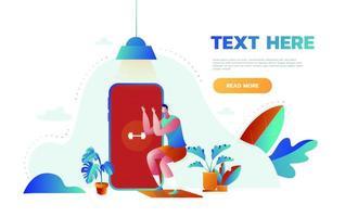 concept de bannière de cours en ligne de remise en forme. homme faisant du fitness à la maison dans des cours en ligne à l'aide de son application pour smartphone. illustration de dessin animé de vecteur. vecteur