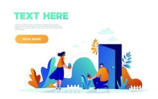 vector illustration concept icône de la journée mondiale de l'environnement. jeune famille plante des arbres ensemble