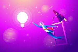 ampoule volante et fusée avec homme d'affaires essaient de saisir. concept d'entreprise