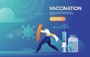 combattre l'illustration du concept covid-19. médecin levant le bouclier contre la tempête de virus et prêt à riposter avec le vaccin. modèle vectoriel. vecteur