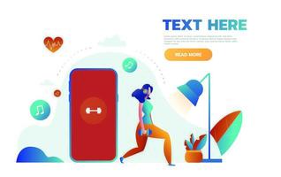 Les jeunes femmes sont debout près d'un gros smartphone avec une application pour le sport et le fitness, suivi des données sur les battements cardiaques et obtention d'informations sur la fréquence du pouls vecteur