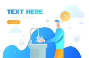 homme se lave les mains pour l'hygiène. attaque de virus. l'homme se lave les mains. hygiène personnelle. illustration vectorielle de coronavirus 2019-ncov vecteur