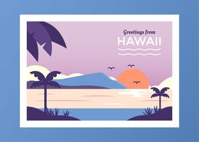 Carte postale du vecteur d'Hawaï