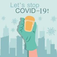 Gel désinfectant pour les mains à base d'alcool pour des mains propres, prévention hygiénique de l'épidémie de coronavirus vecteur