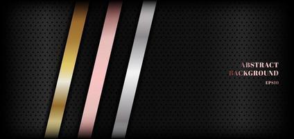 Abstrait métallique brillant doré, or rose, diagonale de rayures argentées sur fond noir premium