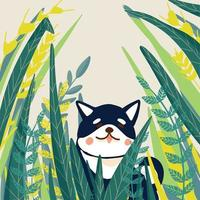 shiba inu cartes d'été de chien japonais mignon vecteur