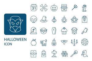 jeu d'icônes de fine ligne halloween. collection de symboles du parti, vecteur
