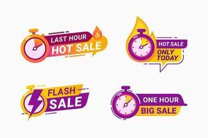 dernière heure offre badge et étiquette compte à rebours des ventes illustration vectorielle de temps limité vecteur