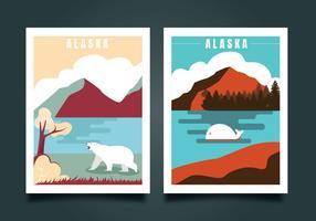 Carte postale de conception de vecteur d'Alaska