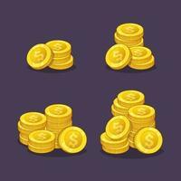 pile de pièces d'or argent comptant actifs vector illustration